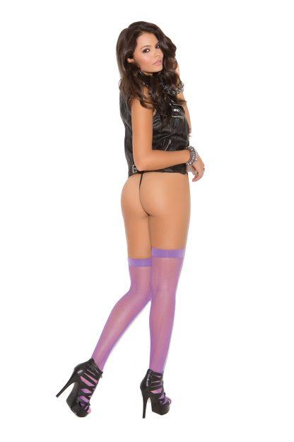 neon purple fishnet thigh high stockings 1744