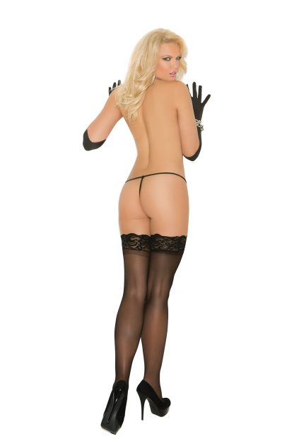 back of black Sheer thigh high stockings with stay-up lace top 1753
