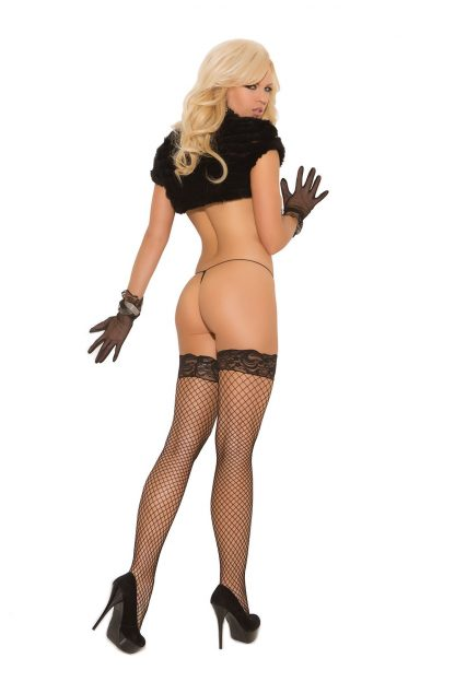 back of Black fence net thigh high stockings with stay-up lace top 1757
