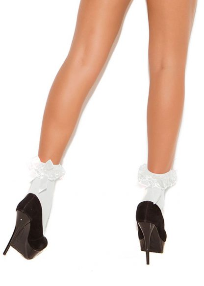 back of white Nylon anklet socks with ruffle and satin bow 1784