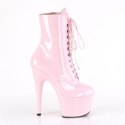 zipper of pink Lace-Up platform ankle boots with 7-inch heels Adore-1020
