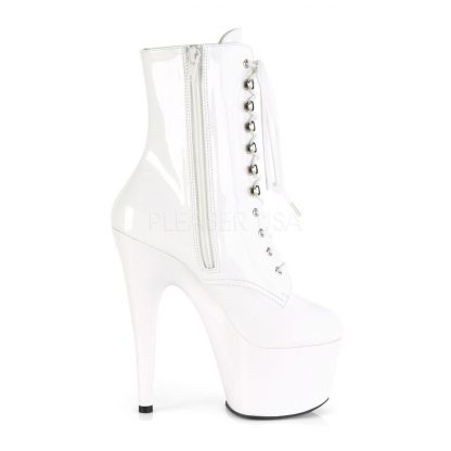 zipper of white Lace-Up platform ankle boots with 7-inch heels Adore-1020