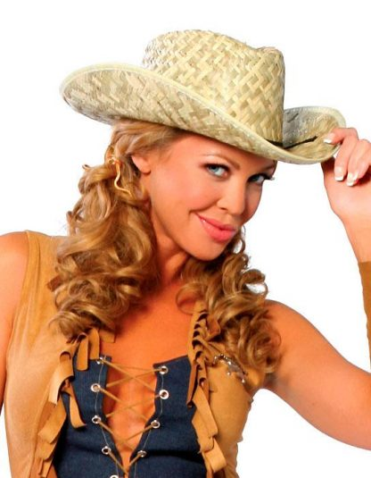 Country western cowgirl costume straw hat H4029