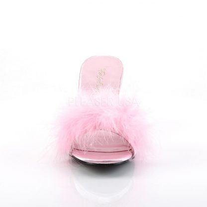 front of pink feather slipper shoe with 3-inch heel Amour-03