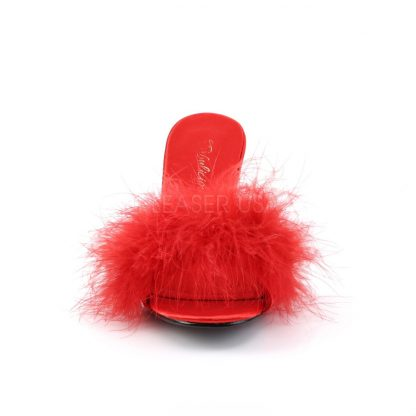 front of red feather slipper shoe with 3-inch heel Amour-03