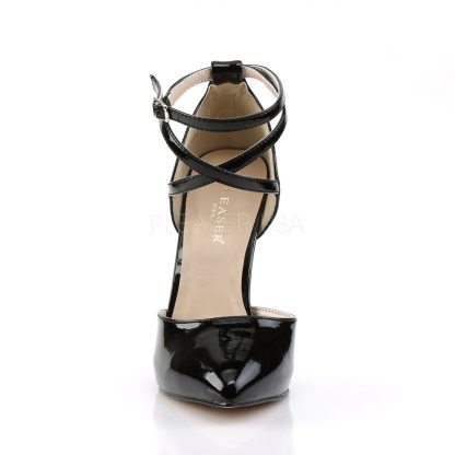 front of black pointed toe D'Orsay pump shoes with ankle straps Amuse-25