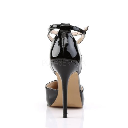 back of black pointed toe D'Orsay pump shoes with ankle straps Amuse-25