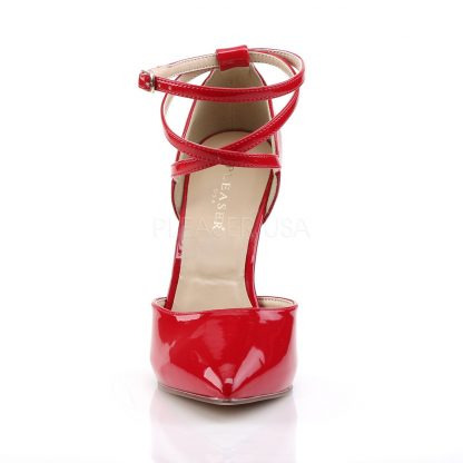 front of red pointed toe D'Orsay pump shoes with ankle straps Amuse-25