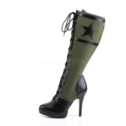star on Lace-Up Knee High Military Boot with 4-inch Heel Arena-2022