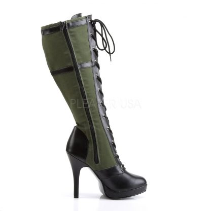 zipper on Lace-Up Knee High Military Boot with 4-inch Heel Arena-2022