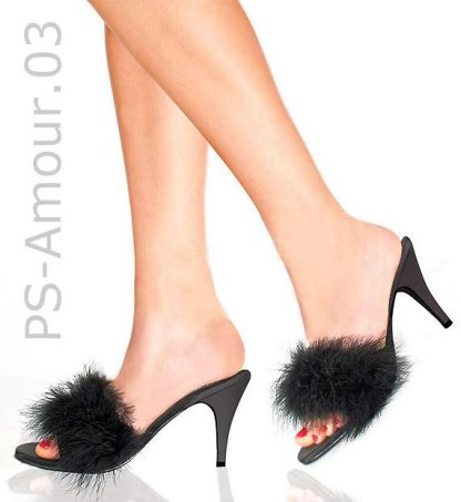model wearing black feather slipper shoe with 3-inch heel Amour-03