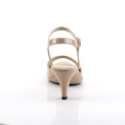 back of nude Ankle strap sandal woman's shoe with 3-inch heel Belle-309