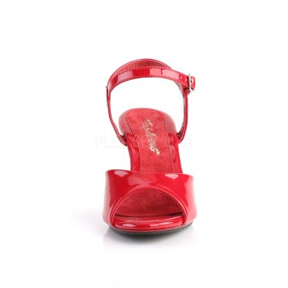 front of red Ankle strap sandal woman's shoe with 3-inch heel Belle-309