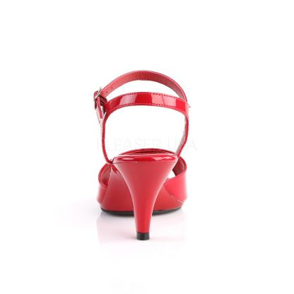 back of red Ankle strap sandal woman's shoe with 3-inch heel Belle-309