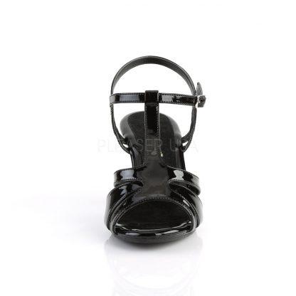 front of black T-strap sandal shoe with 3-inch heel Belle-322