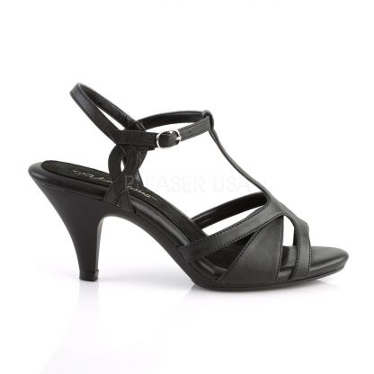 side view of black T-strap sandal shoe with 3-inch heel Belle-322