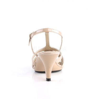 back of nude T-strap sandal shoe with 3-inch heel Belle-322