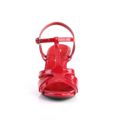 front of red T-strap sandal shoe with 3-inch heel Belle-322