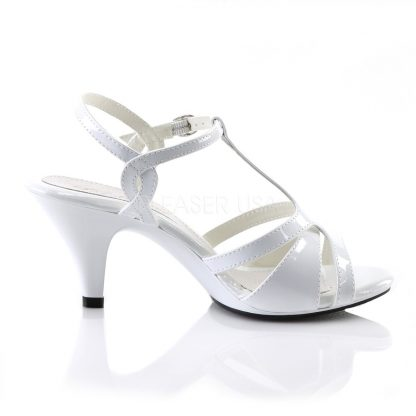 side view of white T-strap sandal shoe with 3-inch heel Belle-322