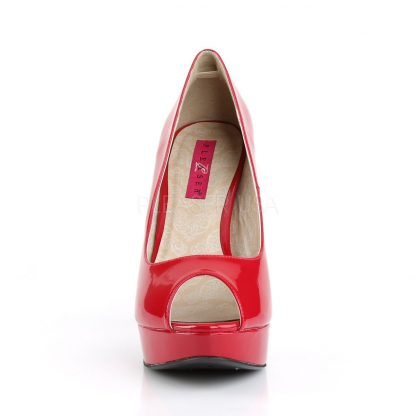 front of red peep toe pump 5-inch high heel shoes Chloe-01