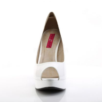 front of white peep toe pump 5-inch high heel shoes Chloe-01
