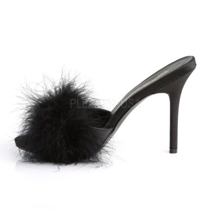 side view of black Marabou feather slipper with 4-inch heel Classique-01F