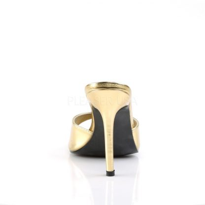 back of gold Peep toe slide slipper with 4-inch heel Classique-01