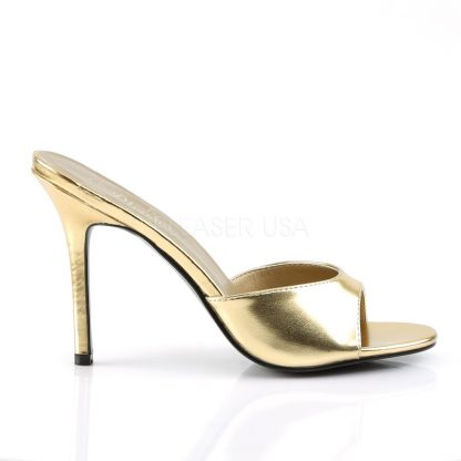 side view of gold Peep toe slide slipper with 4-inch heel Classique-01