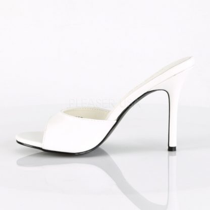 side view of white Peep toe slide slipper with 4-inch heel Classique-01