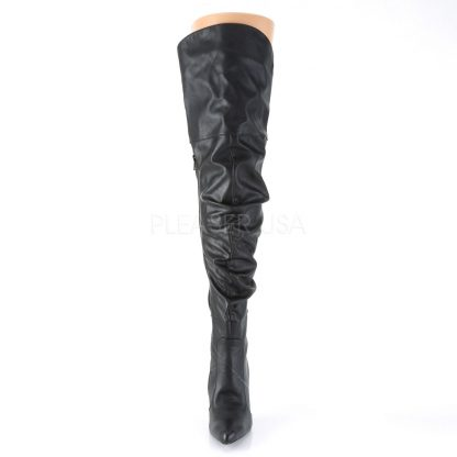front of black Thigh high scrunch boot with 4-inch heel Classique-3011