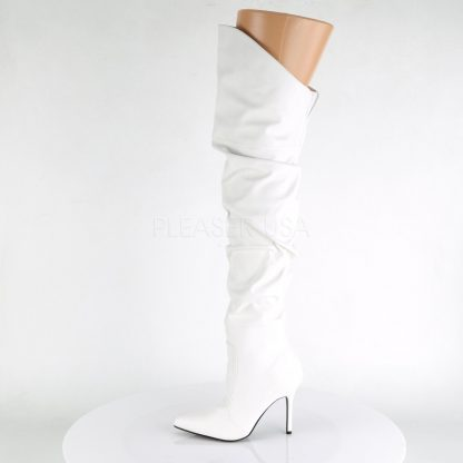 side view of white Thigh high scrunch boot with 4-inch heel 3011