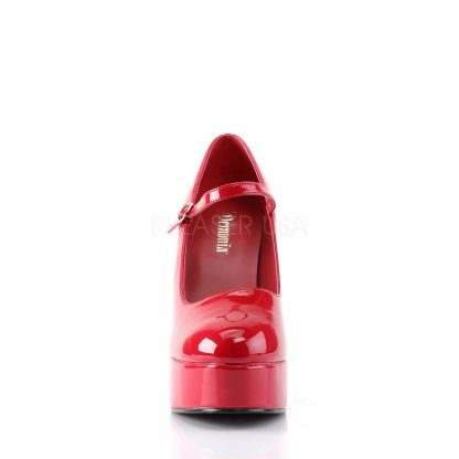 front of red Mary Jane platform shoes with 5-inch heels Dolly-50