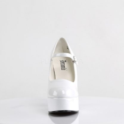 front of white Mary Jane platform shoes with 5-inch heels Dolly-50