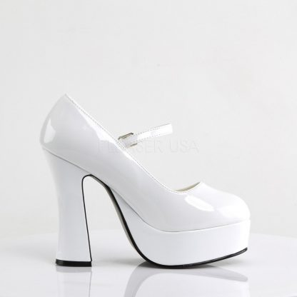 side view of white Mary Jane platform shoes with 5-inch heels Dolly-50
