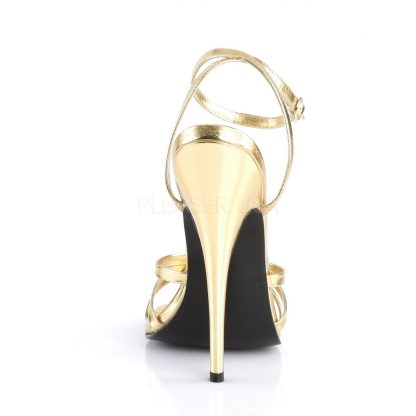 back of gold strappy sandal shoe with 6-inch spike heel Domina-108