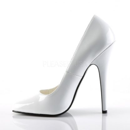 side view of white Fetish pumps with 6-inch stiletto heels Domina-420
