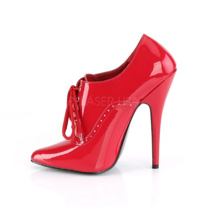 side view of red Lace-up fetish pumps with 6-inch spike heels Domina-460