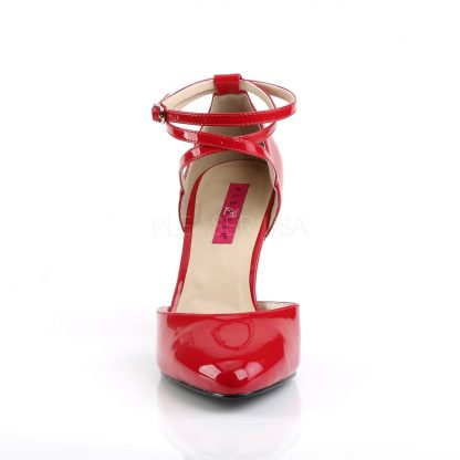 front of red Crisscross ankle strap D'Orsay pumps with 4-inch Dream-408