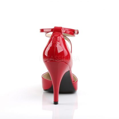 back of red Crisscross ankle strap D'Orsay pumps with 4-inch Dream-408