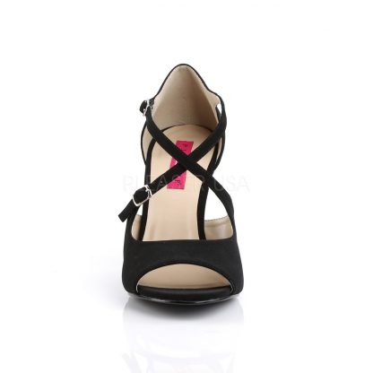 front of black taupe peep toe crisscross ankle strap sandal 4-inch heel Dream-412