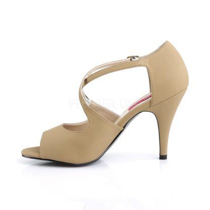 side of taupe peep toe crisscross ankle strap sandal 4-inch heel Dream-412