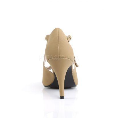 back front of black peep toe crisscross ankle strap sandal 4-inch heel Dream-412
