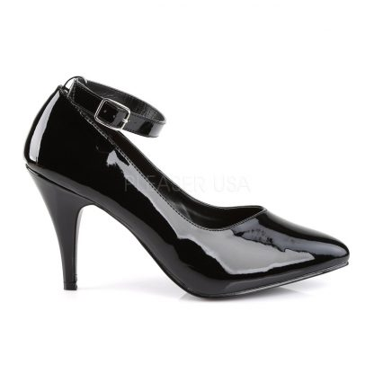 side view of Black ankle strap pump shoe with 4-inch heel Dream-431