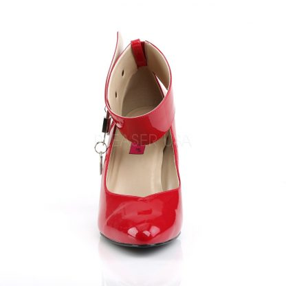 front of red wide band locking ankle strap pumps with 4-inch Dream-432