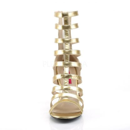 front of gold strappy ankle boot with 4-inch spike heel Dream-438