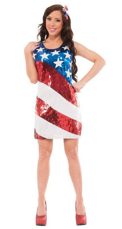 full view of 19505 American stars and stripes sequin dress