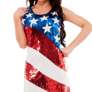 19505 American stars and stripes sequin dress