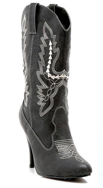 Women's western cowgirl black boots with 4 inch stiletto heels 418-COWGIRL