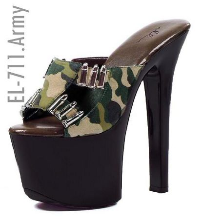 Camouflage 7-inch high heel shoe with faux bullet details 711-Army