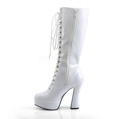 side of white lace-up platform knee boot 5-inch chunky heel Electra-2020